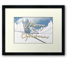 Merry Christmas from a Snowy Countryside Framed Print