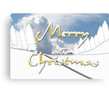 Merry Christmas from a Snowy Countryside Canvas Print