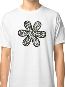Flower, Animal Print, Spotted Leopard - Yellow Blue Green  Classic T-Shirt