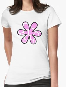 Flower, Animal Print (Giraffe Pattern) - Pink White  Womens Fitted T-Shirt