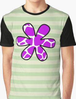 Flower, Animal Print (Giraffe Pattern) - Purple White  Graphic T-Shirt
