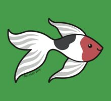 Pet Fish - Red white and Black Goldfish Kids Tee