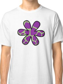 Flower, Animal Print (Giraffe Pattern) - Purple Green Classic T-Shirt