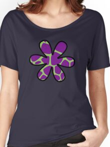 Flower, Animal Print (Giraffe Pattern) - Purple Green Women's Relaxed Fit T-Shirt