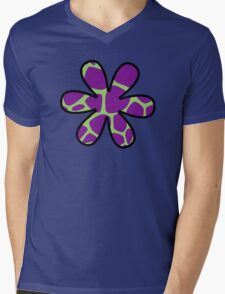 Flower, Animal Print (Giraffe Pattern) - Purple Green Mens V-Neck T-Shirt