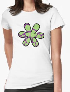 Flower, Animal Print (Giraffe Pattern) - Purple Green Womens Fitted T-Shirt