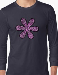 Flower, Animal Print, Spotted Leopard - Pink Black  Long Sleeve T-Shirt