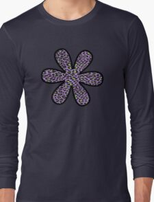 Flower, Animal Print, Spotted Leopard - Purple Green  Long Sleeve T-Shirt
