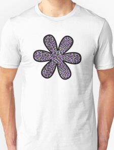 Flower, Animal Print, Spotted Leopard - Purple Green  Unisex T-Shirt
