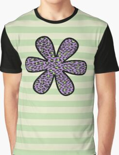 Flower, Animal Print, Spotted Leopard - Purple Green  Graphic T-Shirt