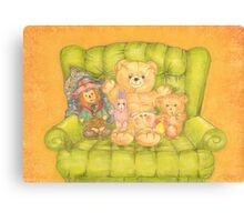 Teddy and Toys in Armchair Canvas Print