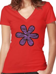 Flower, Animal Print, Zebra Stripes - Black Purple  Women's Fitted V-Neck T-Shirt