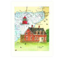 Dunkirk Lighthouse NY Lake Erie Map Cathy Peek Art Print