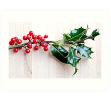 Holly with red berries Art Print