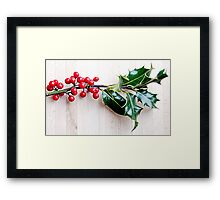 Holly with red berries Framed Print