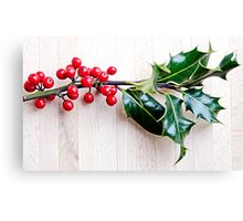 Holly with red berries Canvas Print