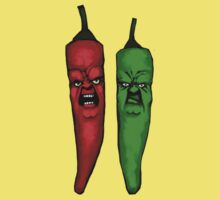 two angry chili pepers One Piece - Short Sleeve