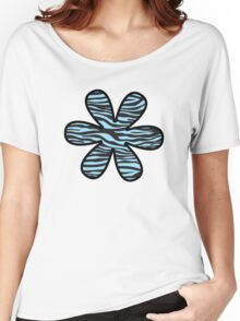 Flower, Animal Print, Zebra Stripes - Black Blue  Women's Relaxed Fit T-Shirt