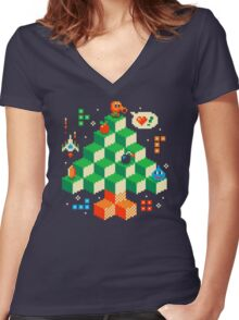 RETRO HOLIDAY! Women's Fitted V-Neck T-Shirt