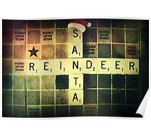 Santa Scrabble Christmas Card Poster