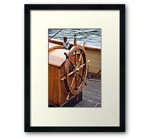 Traditional wooden ships wheel, Brest 2008 Maritime Festival, France Framed Print