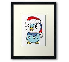 Piplup Santa Hat Framed Print