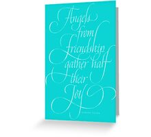 Angels Friendship - Elegant Calligraphy Chalkboard Angel Quote - Christmas Chalk Lettering - Tiffany Blue Aqua Greeting Card
