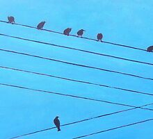 Birds and Wires, Art by Liam Daly by eolai