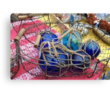 Blue glass fishing floats, Brest 2008 maritime festival, France Canvas Print