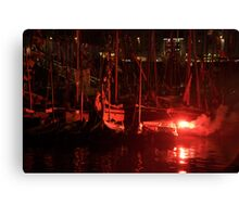 Red flare in front of boat masts in harbour, Brest 2008 Maritime Festival, France Canvas Print