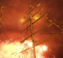 Bastille Day fireworks in front of the Russian ship Kruzenshtern, Brest 2008 Maritime Festival, France by silverportpics