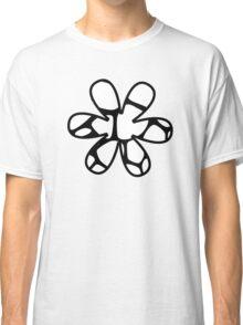 Flower, Animal Print (Giraffe Pattern) - Black White  Classic T-Shirt