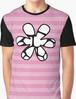 Flower, Animal Print (Giraffe Pattern) - Black White  Graphic T-Shirt