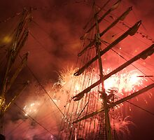 Bastille Day fireworks in front of the Russian ship Kruzenshtern, Brest 2008 Maritime Festival, France by silverportpics