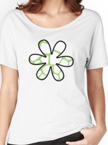 Flower, Animal Print (Giraffe Pattern) - White Green  Women's Relaxed Fit T-Shirt