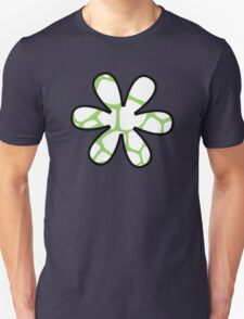 Flower, Animal Print (Giraffe Pattern) - White Green  Unisex T-Shirt