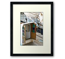 Beautiful coloured glass doors onboard traditional wooden boat, Brest 2008 Maritime Festival, Brittany, France Framed Print