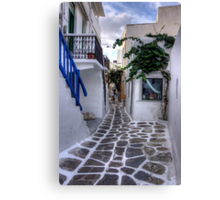 Residential Streets of Mykonos Canvas Print