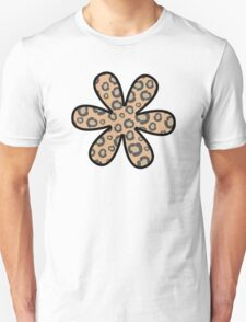 Flower, Animal Print, Spotted Cheetah - Black Brown  Unisex T-Shirt