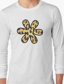 Flower, Animal Print, Spotted Cheetah - Black Yellow Long Sleeve T-Shirt