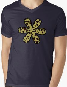 Flower, Animal Print, Spotted Cheetah - Black Yellow Mens V-Neck T-Shirt