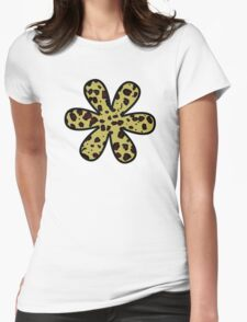 Flower, Animal Print, Spotted Cheetah - Black Yellow Womens Fitted T-Shirt