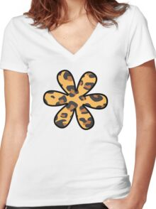 Flower, Animal Print, Spotted Leopard - Brown Black Women's Fitted V-Neck T-Shirt