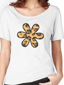 Flower, Animal Print, Spotted Leopard - Brown Black Women's Relaxed Fit T-Shirt