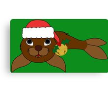 Brown Baby Seal with Santa Hat, Holly & Gold Bell Canvas Print