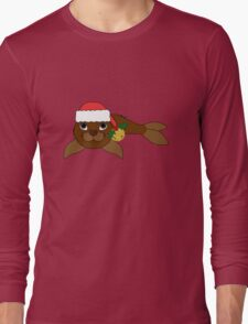 Brown Baby Seal with Santa Hat, Holly & Gold Bell Long Sleeve T-Shirt