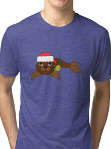 Brown Baby Seal with Santa Hat, Holly & Gold Bell Tri-blend T-Shirt