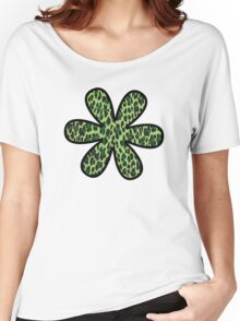 Flower, Animal Print, Spotted Leopard - Green Black  Women's Relaxed Fit T-Shirt
