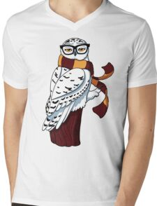 Hipster Owl Mens V-Neck T-Shirt