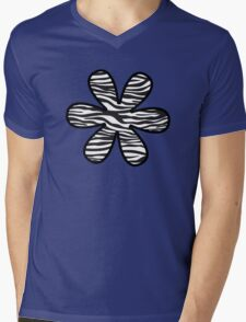 Flower, Animal Print, Zebra Stripes - Black White Mens V-Neck T-Shirt